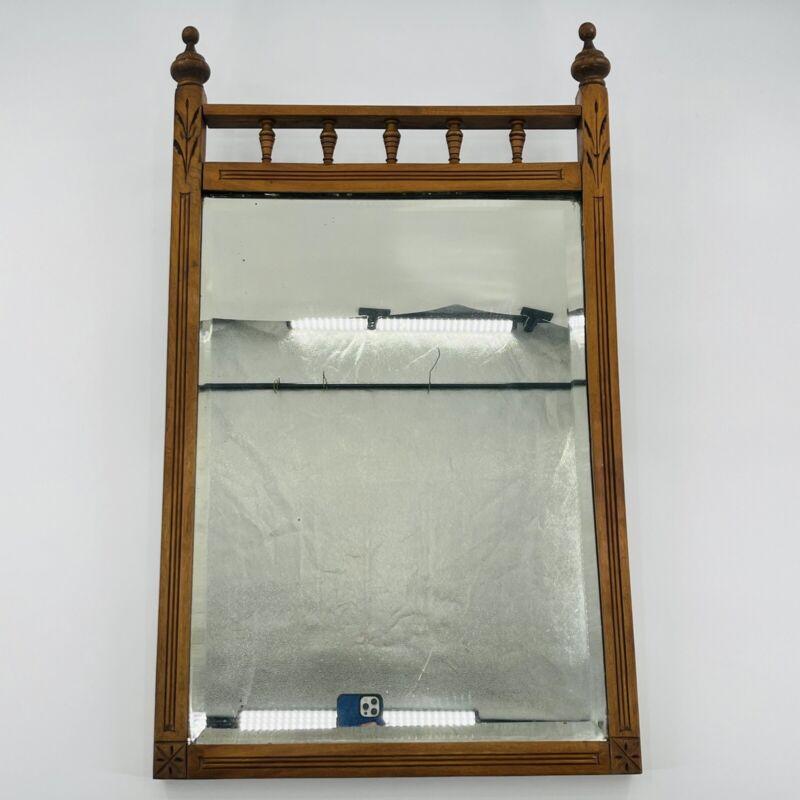 "Antique Eastlake Hall / Vanity Mirror Walnut Beveled Lead Glass 17.5"" X 29.5"""