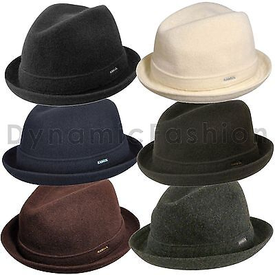 - 100% Authentic KANGOL Wool Player Fedora Trilby Hat Cap 6447BC
