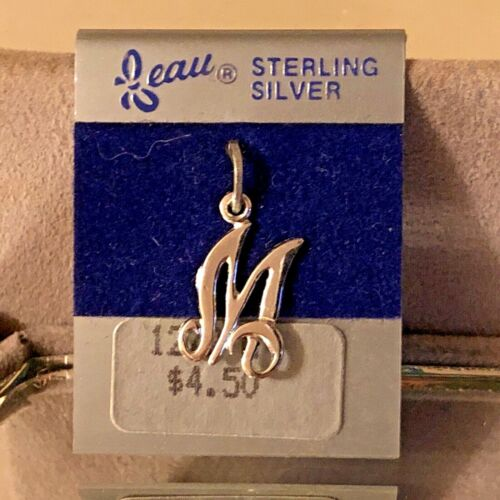 """NEW VTG Sterling Silver Beau Initial """"M"""" Charm Pendant 3/4"""" On original card"""