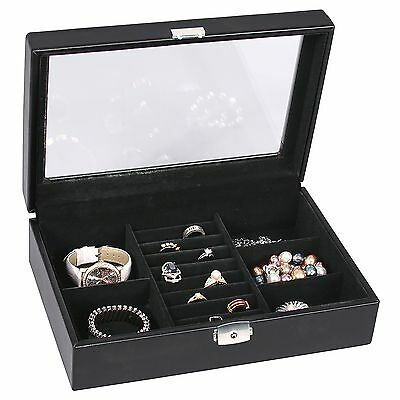 Black Leather Jewelry Storage Case Glass Top Box Display With Lock And Key
