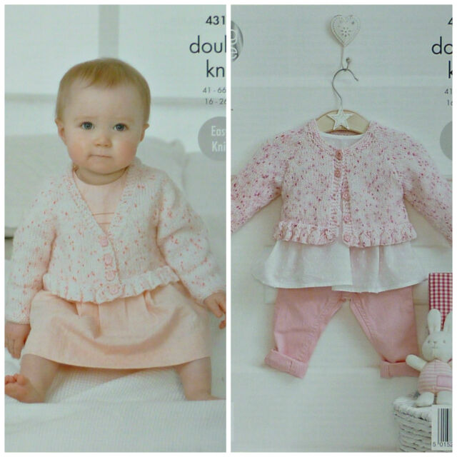 KNITTING PATTERN Baby's Easy Knit V-Neck &Round Neck Cardigan with Frill DK 4317
