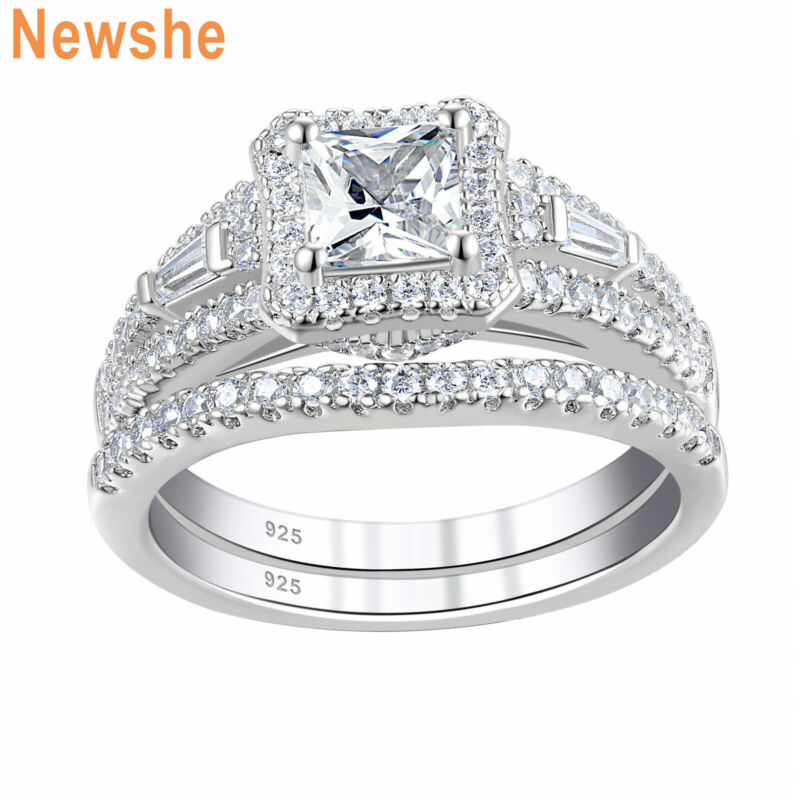 Newshe Engagement Wedding Ring Set For Women Sterling Silver Princess Aaaaa Cz