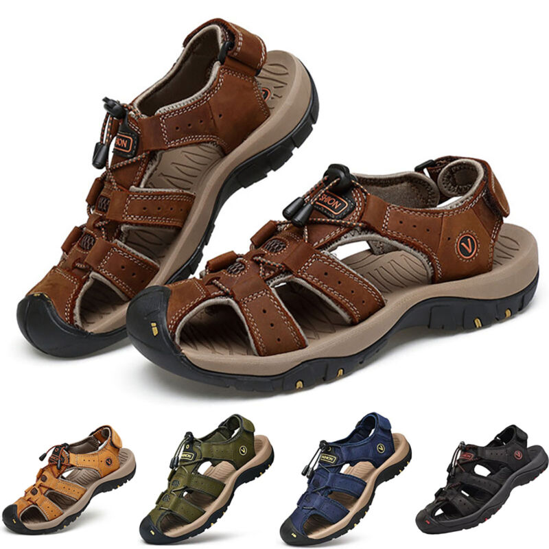 Men Leather Sandals Hiking Closed Toe Lock Lace Summer Beach