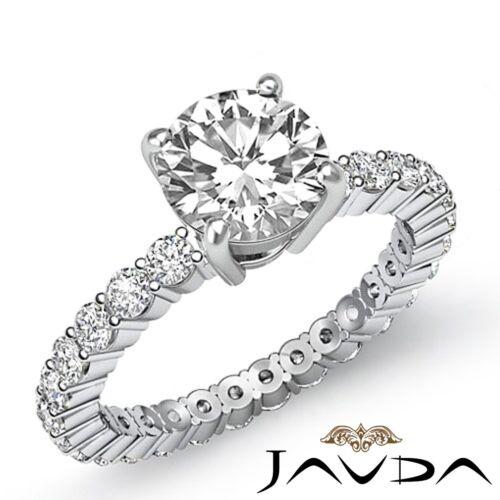 2.3ct Round Cut Diamond Eternity Style Engagement Ring GIA F VS1 14k White Gold