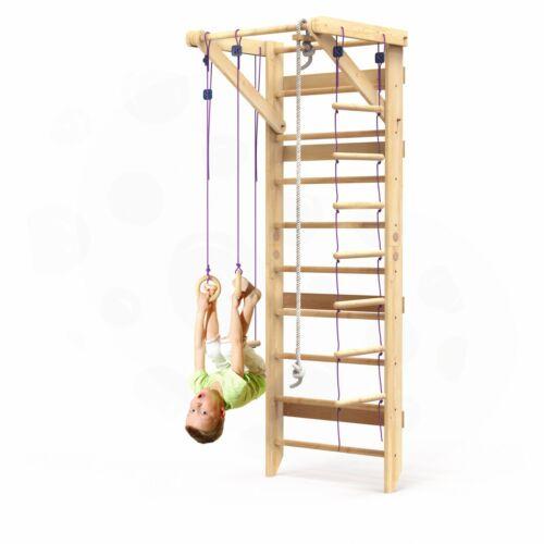Wooden Swedish Ladder Wall Set – Kids Stall Bars for Exercise – Kids Swedish Gym