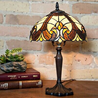 Tiffany Style Victorian Bronze Finish Table Lamp Brown Amber Stained Glass 16