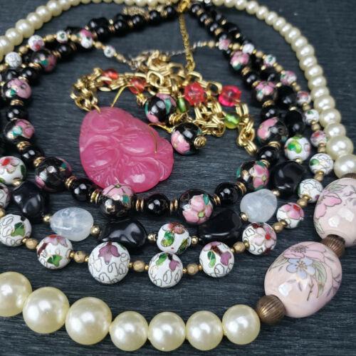 5 VNTG2Now Necklaces Glass Enamel Cloisonne Chain FauxPearl Carved 1 pr Ear 8oz+