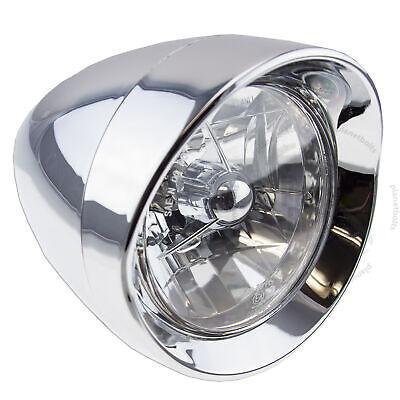 Bullet Headlamp - Chrome Bullet 6 inch Cruiser Headlight Universal 10mm Assembly Lamp High beam