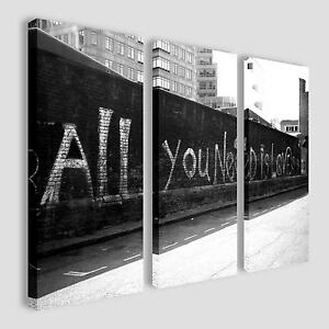 Huge BANKSY Triptych, All You Need Is Love, Triple 3 Panel Canvas Pictures Large
