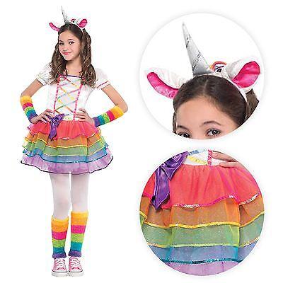 Mädchen Deluxe Rainbow Pony Einhorn Pegasus Kostüm Tutu Stirnband Kostüm
