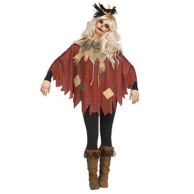 Adult Women's Scarecrow Halloween Easy Costume Oz Group Teacher Poncho Top - Halloween Costumes C