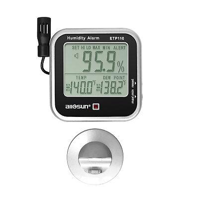 Digital Humidity Temperature Meter With Alarm Clock Hygrometer Weather Gauge