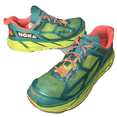 Hoka One One Clifton Womens Size 9.5 Running Athletic Shoes Green Yellow 9 1/2