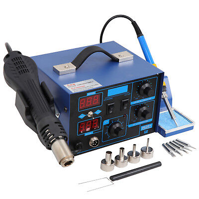 2in1 862d Smd Soldering Iron Hot Air Rework Station Led Display W4 Nozzle 110v