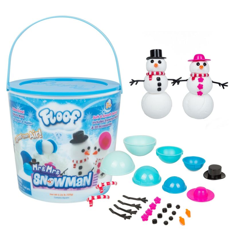 Floof Modeling Clay - Reuseable Indoor Snow - Mr. & Mrs Snowman Set With Endless