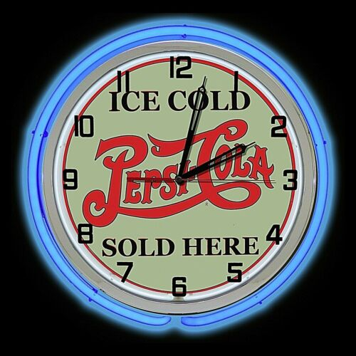 "19"" Pepsi Cola Ice Cold Sold Here Sign Double Blue Neon Clock Man Cave Garage"