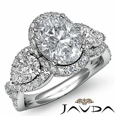 Bypass Design 3 Stone Halo Oval Diamond Engagement Pave Set Ring GIA H SI1 2.5Ct