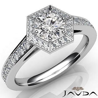 Hexagon Halo Pave Setting Women's Round Diamond Engagement Ring GIA F VS1 1.22Ct