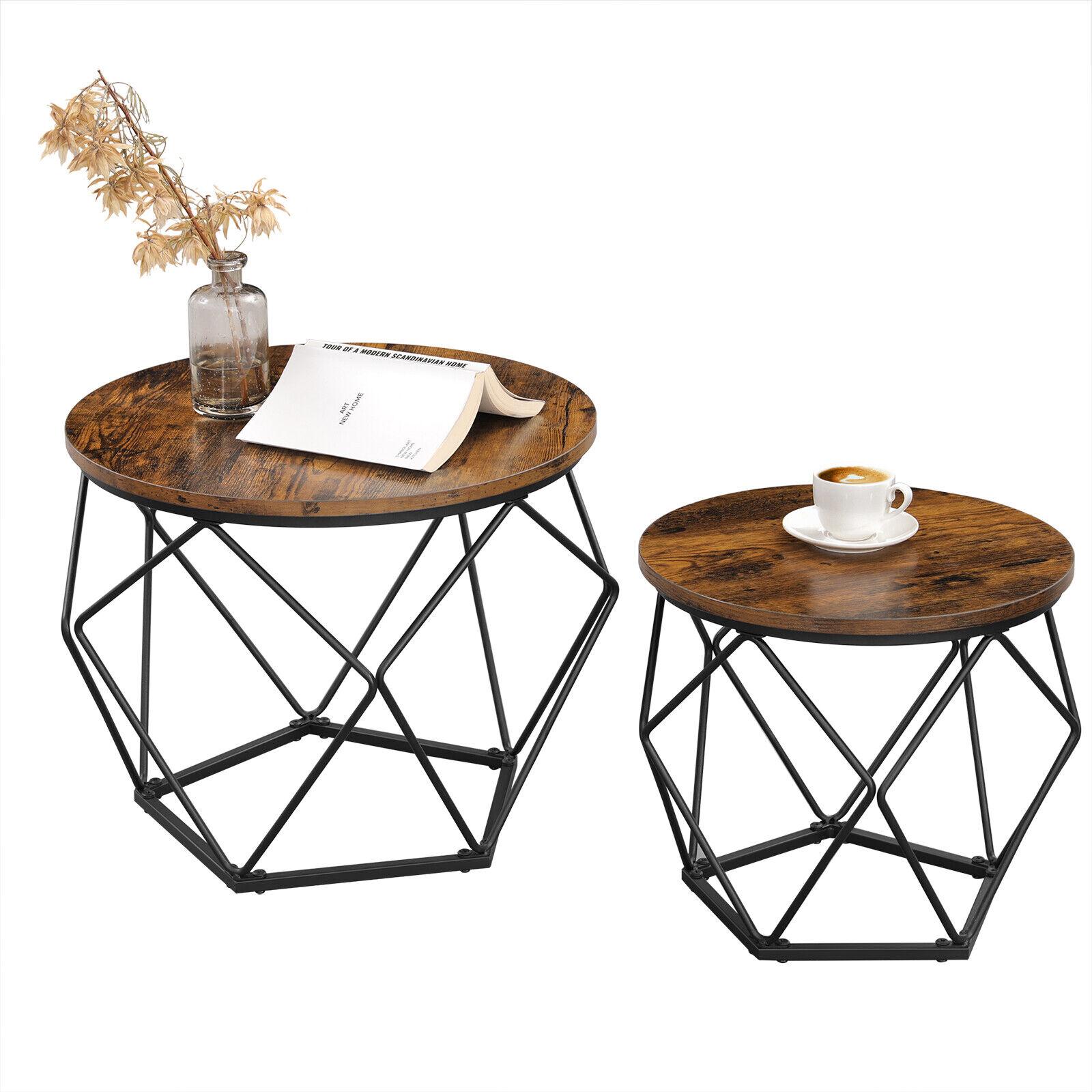 VASAGLE 2er Set Couchtische Beistelltische Sofatisch Kaffeetisch Stahlrahmen