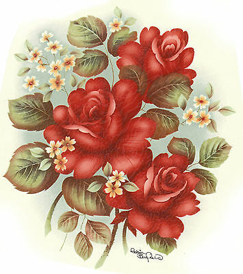 Ceramic Decals Red Roses White Floral Flowers - Floral White Ceramic