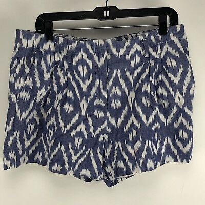Tommy Hilfiger Womens Pleated Casual Shorts Sz 10 Blue/White Print ()