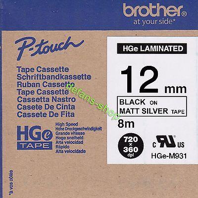 .Brother P-touch tape HGe-M931 schwarz auf matt silber 12mm High Grade ORIGINAL gebraucht kaufen  Hamburg