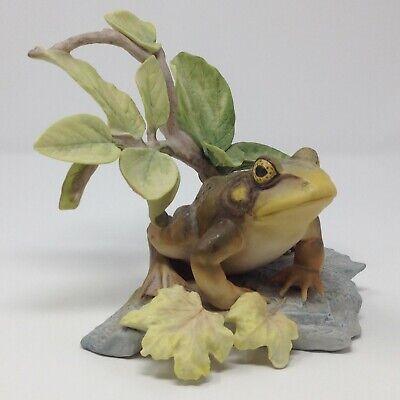 """Vintage Cybis Frog Leaf Figurine Porcelain 6"""""""