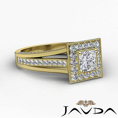 Milgrain Bezel Princess Diamond Engagement Split Shank Ring GIA F VVS1 1.40 Ct 9