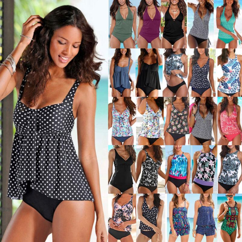 Damen Retro Tankini Set Push Up Padded Badeanzug Bademode Schwimmanzug Übergröße