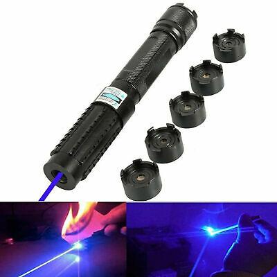 High Power Blue Laser Torch Flashlight 450nm 10000m Focus Burning Match Lazer