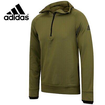 Adidas Mens Climaheat Hoodie Half Zip Green Pullover Hooded Sweatshirt Free Post