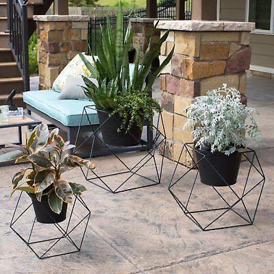 Outdoor Patio Planters (Modern Black Metal Artistic Geometric Planters Outdoor Patio Pots Stand 3 Sizes )