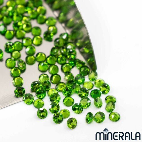NATURAL GREEN CHROME DIOPSIDE ROUND FACETED LOOSE GEMSTONE 2mm-5mm WP002B8