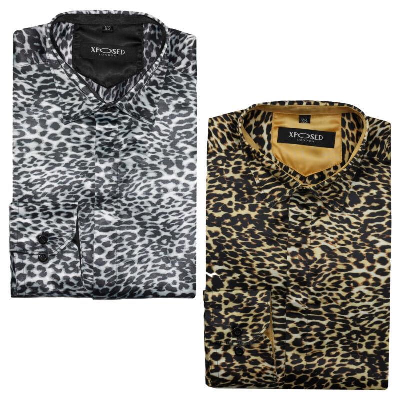 Mens Retro Leopard Animal Print Silk Feel Designer Style Smart Party Dress Shirt