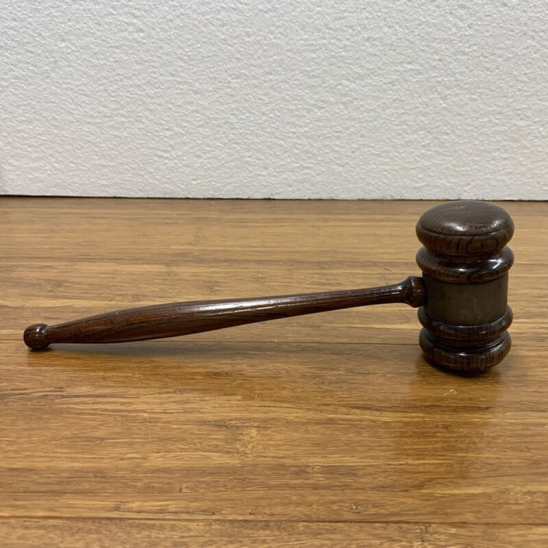 """Judges Antique Wooden Gavel Wood 10"""" Long Stanislaus Modesto CA Stardusters 1963"""