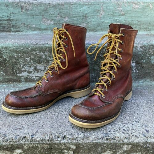 Vtg 1950s Red Wing Irish Setter Moc Toe Leather Crepe Sole Boots M 8.5 W 9.5 10