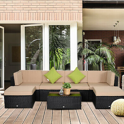 Outsunny 7pc Rattan Garden Furniture  Set Outdoor Patio Wicker Sofa Table