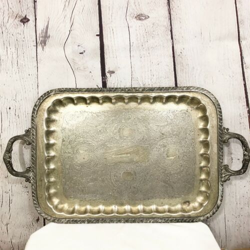 Large Ornate Rectangle Silverplate Tray With Handles Silver Plate Tray