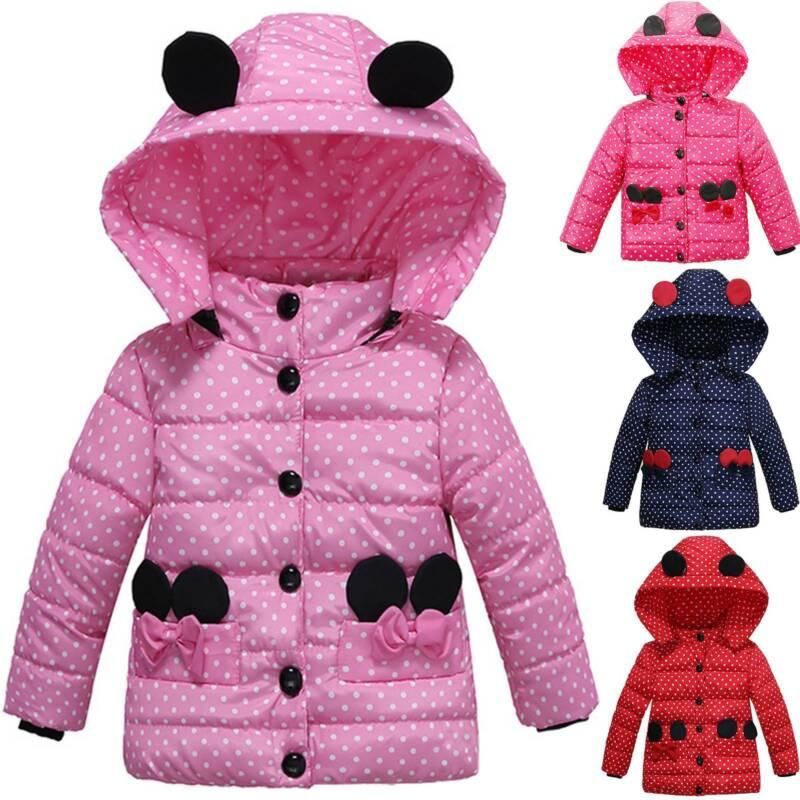 Mädchen Kinder Winterjacke Steppjacke Warm Mantel Ohr Kapuze Jacke Outwear Top