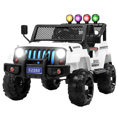 12V Kids Ride on Car Toys Electric Battery Light Suspension w/ RC 3 Speed White