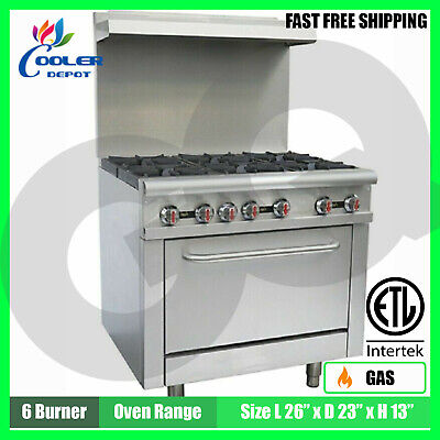 Oven Range Stove 36 Commercial 6 Burner Kitchen Restaurant Nsf 227000 Btu New