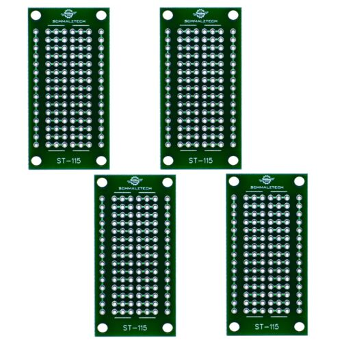 """4 Pack DIY Proto Perf Board, Permanent Breadboard with Solder Mask 1""""x2"""", ST-115"""