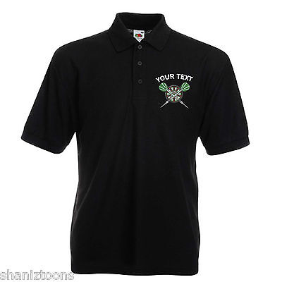 X2 Personalised Fruit Of The Loom Polo Shirts Embroidered Darts Logo With (Fruit Of The Loom Personalised T Shirts)