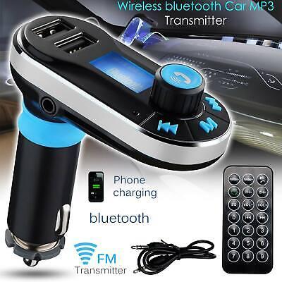 Bluetooth Wireless Car FM Radio Transmitter Handsfree Call Mic 2 USB TF Card Aux
