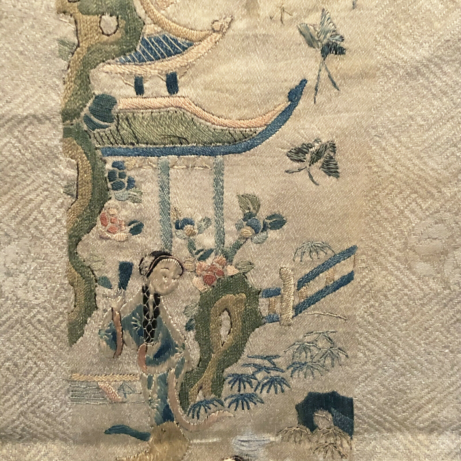 Antique Chinese Embroidered Silk Textile Panel With Border - $65.00
