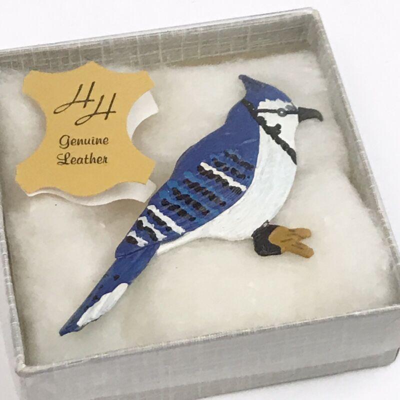 Vintage Bluejay Blue Jay Bird Brooch Leather Hinterland Handmade Canada & Box