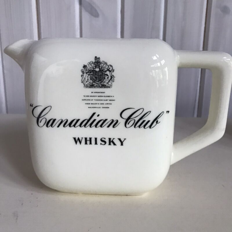 VTG Canadian Club Whiskey Pitcher Bar ware Whiskey Made In USA