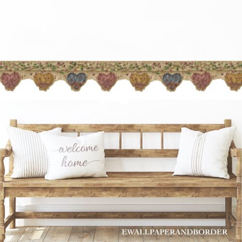 Country Gingham Bow Hearts Berries Ivy Vines Rustic Wood Brown Wallpaper Border