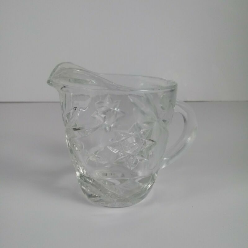 Creamer Cup Crystal Clear Glass Pour Spout/Star of David/Pin-Wheel/Handle Vtg