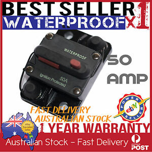 CIRCUIT BREAKER 50 AMP 12V 24V DUAL BATTERY WATERPROOF MANUAL RESET SWITCH 4X4